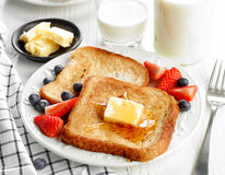 French toast with butter and honey Royalty Free Stock Photos