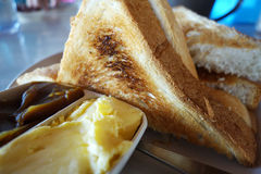 French toast with butter and kaya. Close up Royalty Free Stock Image