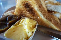 French toast with butter and kaya. Close up Stock Photography