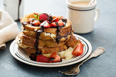 French toast with coffee and mascarpone Royalty Free Stock Photos