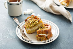 French toast with cream cheese and pistachios Royalty Free Stock Photography