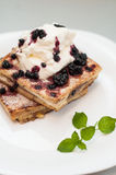 French toast with cream and fruits Stock Photos