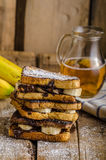 French toast filled banana and chocolate Stock Photos