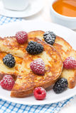French toast with fresh berries Stock Photos