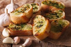 French toast with fresh herbs and garlic closeup, rustic Royalty Free Stock Images