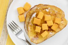 French Toast with Fresh Mango. And syrup. Top View Stock Photo