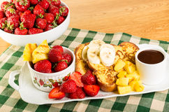 French toast with fruit and coffee Royalty Free Stock Photography