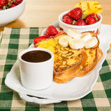 French toast with fruit and coffee Royalty Free Stock Image