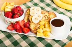 French toast with fruit and coffee Stock Photography