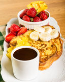 French toast with fruit and coffee Royalty Free Stock Images