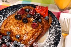 French toast with fruit and maple syrup closeup Stock Images