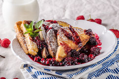 French toast with fruits Royalty Free Stock Photo
