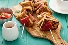 French toast pieces on a skewer with strawberry Royalty Free Stock Photos