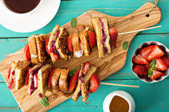 French toast pieces on a skewer with strawberry Royalty Free Stock Photo