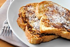 French Toast. Plate of French Toast with powdered sugar Stock Photo