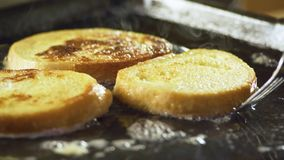 French toast. Preparing french toast for breakfast stock footage