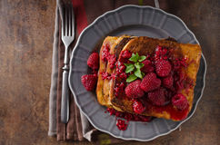 French toast with rapsberries Stock Image