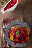 French toast with rapsberries Royalty Free Stock Image