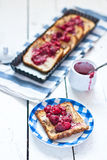 French toast with raspberries Stock Photos