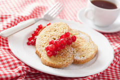 French toast with redcurrant and powder sugar Stock Image