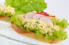 French toast with savory snacks, and radish Royalty Free Stock Photos