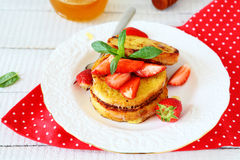 French toast with slices of berries Stock Photography