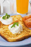 French toast with sour cream Royalty Free Stock Images