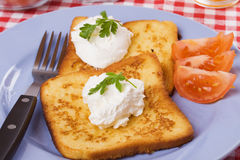 French toast with sour cream Stock Photography
