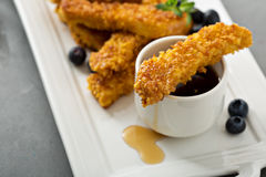 French toast sticks with blueberries and syrup Stock Photo