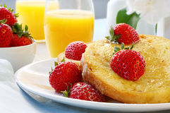 French Toast with Strawberries stock image