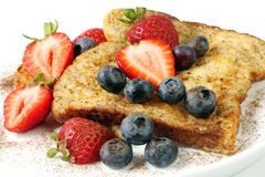 French Toast with Strawberries and Blueberries royalty free stock photos