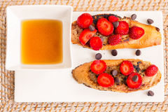 French Toast with Strawberries Stock Photo