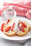 French toast with strawberry for breakfast Stock Photography