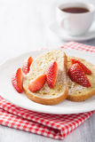 French toast with strawberry for breakfast Royalty Free Stock Photos