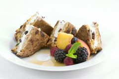 French toast - stuffed. Elegant and easy french toast stuffed with creamed cheese, dried apricots,blueberries,and cherries with a mixed berry, peach and mint Stock Photography