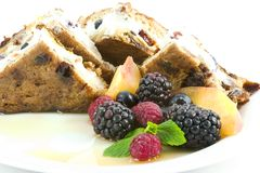 French toast - stuffed. Elegant and easy french toast stuffed with creamed cheese, dried apricots,blueberries,and cherries with a mixed berry, peach and mint Stock Photos
