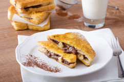 French toast stuffed with chocolate and banana Stock Photography