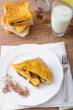 French toast stuffed with chocolate and banana Stock Image