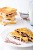French toast stuffed with chocolate and banana Royalty Free Stock Image