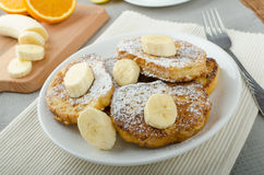 French toast to sweet, with banana sprinkled with sugar Stock Photography