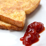French toast with tomato ketchup Royalty Free Stock Photos