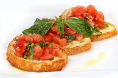 French toast with tomatoes Royalty Free Stock Photography