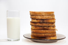 French toast and yogurt in the glass Stock Image