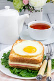 French toasted sandwich Croque madame Stock Image