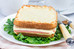 French toasted sandwich Croque monsieur Stock Photography