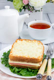 French toasted sandwich Croque monsieur. With ham and cheese Royalty Free Stock Photography