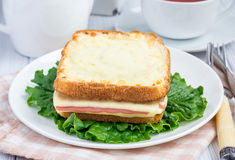 French toasted sandwich Croque monsieur on a plate Royalty Free Stock Images