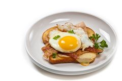 French Toasted Sandwich with fried eggs Stock Image