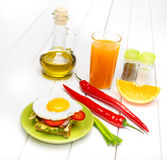 French Toasted Sandwich with fried eggs Stock Photo