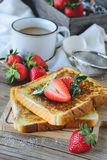 French Toasted with strawberry and Coffee, Breakfast Healthy Royalty Free Stock Images
